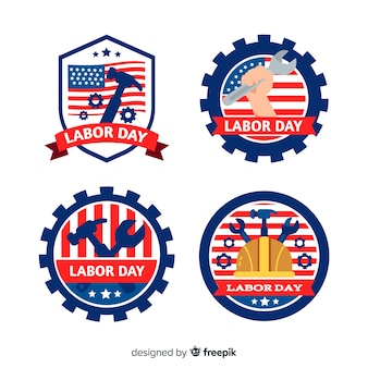 Flat design labour day in usa badge collection