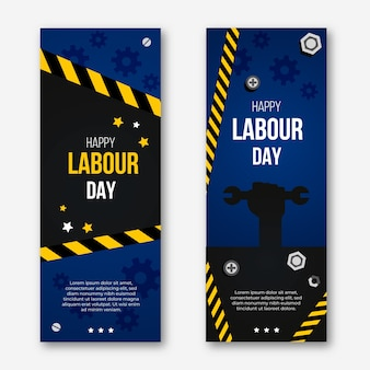 Flat design labour day vertical banners