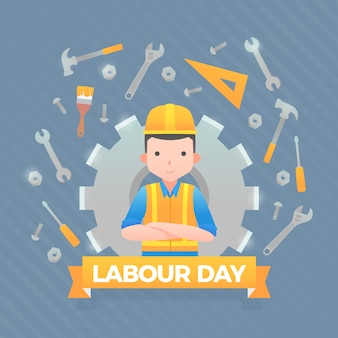 Flat design labour day