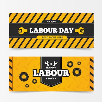 Flat design labour international day banners