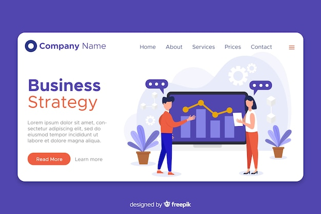 Flat design landing page business strategy