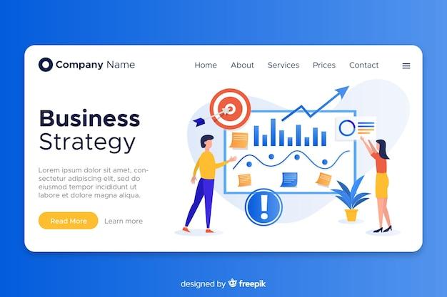 ビジネス向けのフラットなデザインのランディングページ