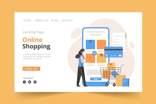 Flat design landing page online shopping template concept