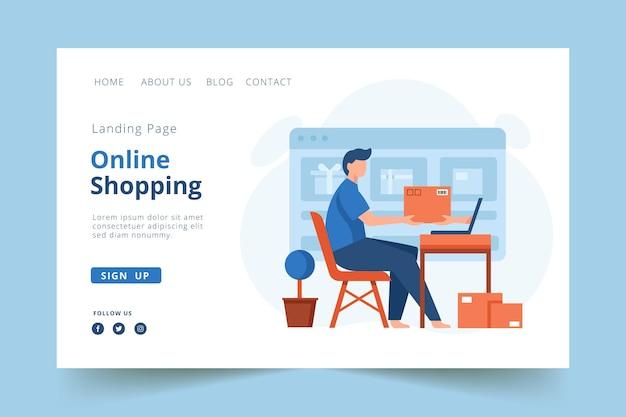 Flat design landing page online shopping template theme