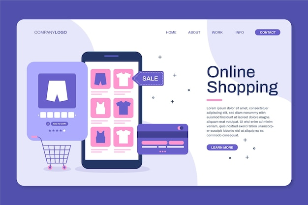 Flat design landing page for online shopping