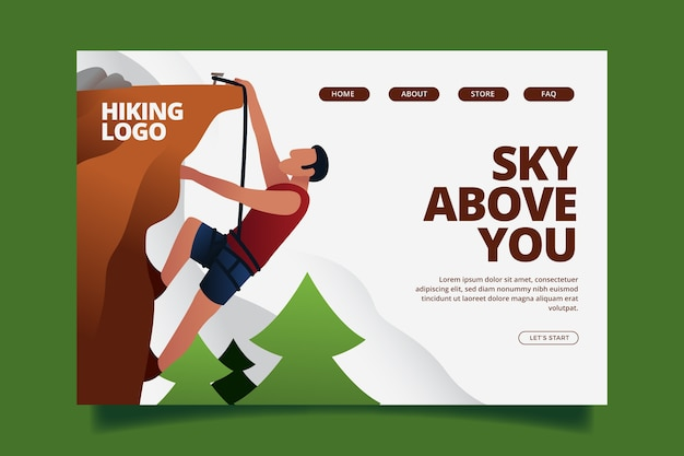 Flat design landing page outdoor sport template