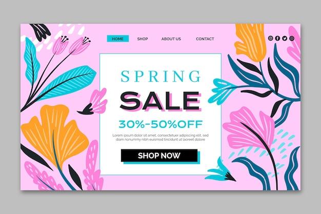 Flat design landing page spring sale template