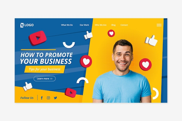 Flat design landing page template