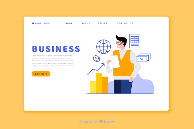 Flat design landing page with elements