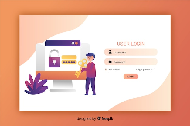 Flat design landing page with log in