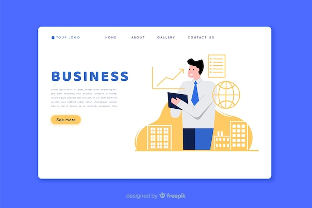 Flat design landing page with man character
