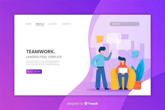 Flat design landing page with teamwork concept