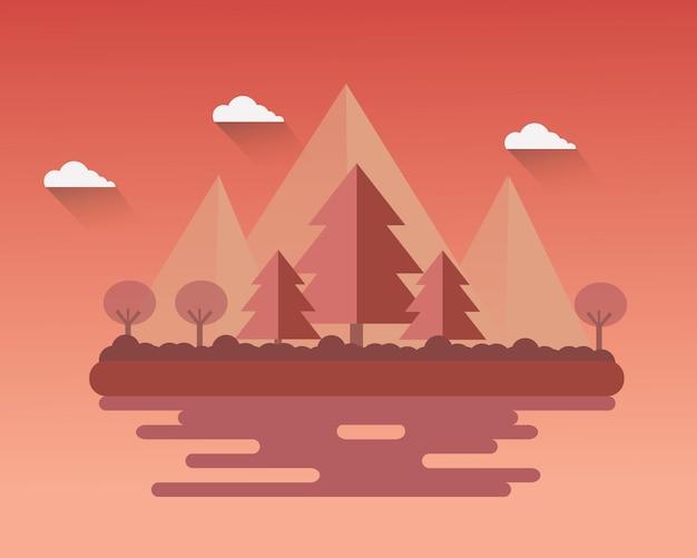 Flat design landscape autumn season