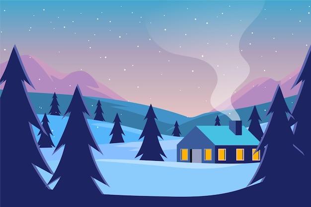 Плоский дизайн пейзаж на фоне зимнего времени