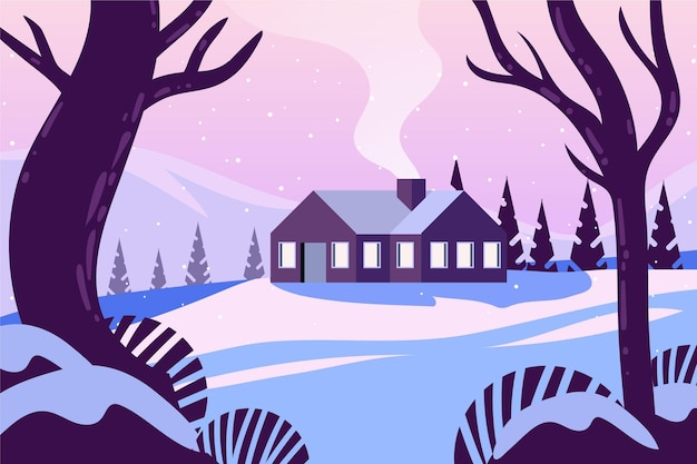 Flat design landscape of lonely house