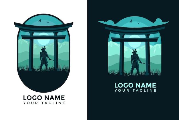 Плоский дизайн пейзаж самурай логотип шаблон логотипа для компании и мобильных обоев
