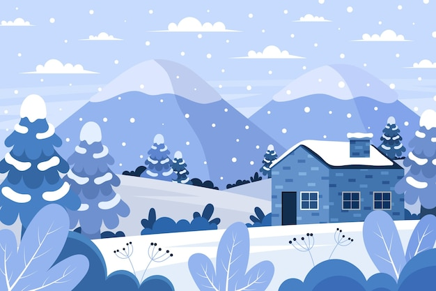 Flat design landscape in winter time