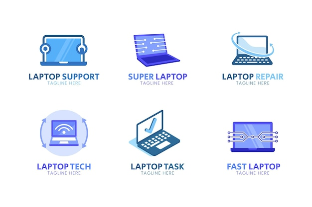 Плоский дизайн шаблона логотипа ноутбука