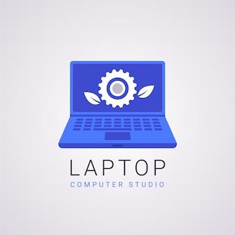Modello di logo per laptop dal design piatto