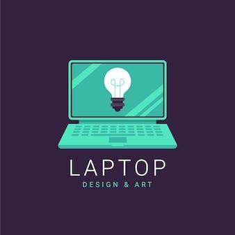 フラットデザインのラップトップのロゴのテンプレート