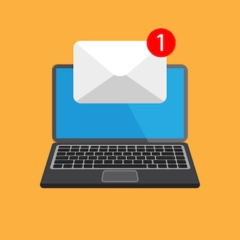 Flat design of laptop with one new letter on a mail at the screen.