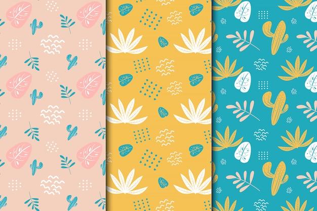 평면 디자인 잎 패턴 세트