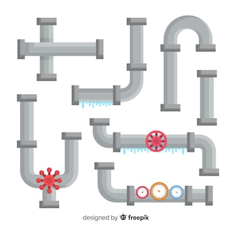 Flat design leaking water pipes collection