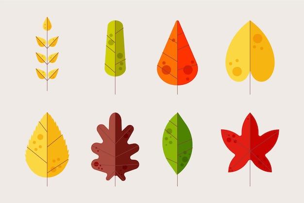 Collezione di foglie dal design piatto