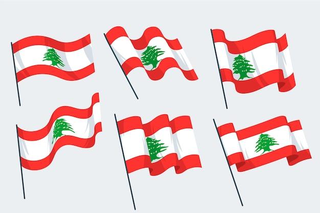 Flat design lebanese flag collection