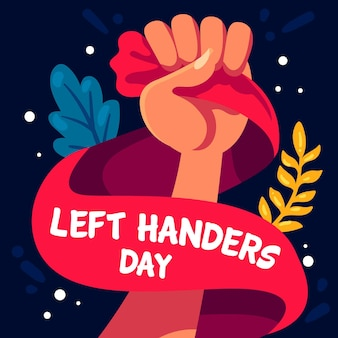 Flat design left handers day concept