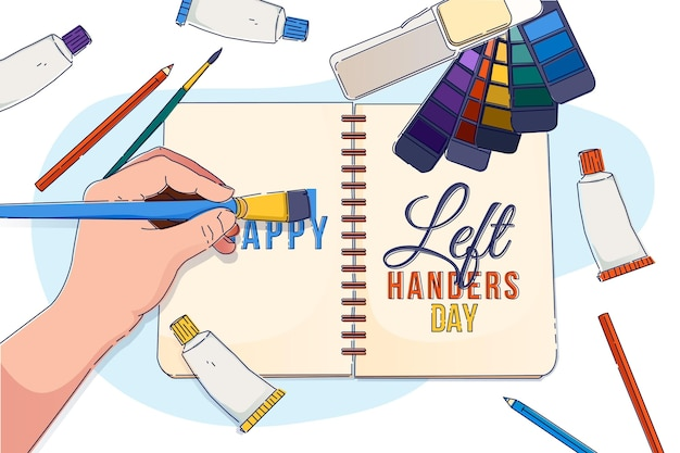 Flat design left handers day with agenda