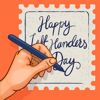 Flat design left handers day