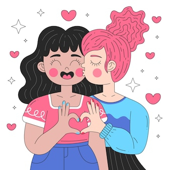 フラットなデザインのレズビアンのカップルのキスのイラスト