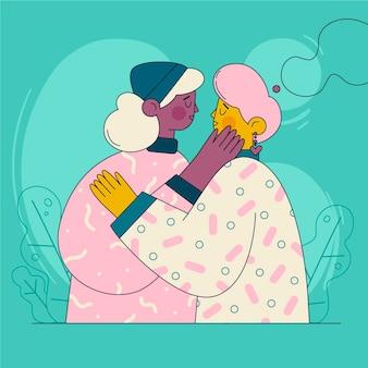 フラットなデザインのレズビアンのカップルのキスのイラスト 無料ベクター