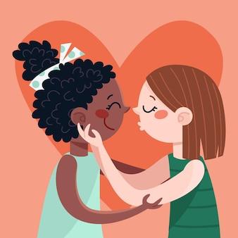 フラットなデザインのレズビアンのカップルのキス