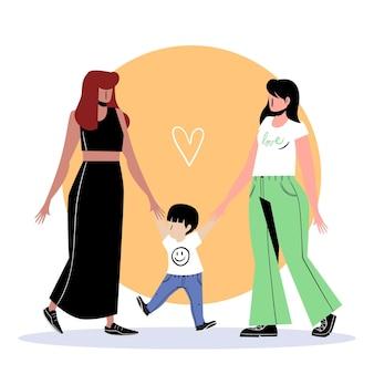 Coppia lesbica design piatto con bambino