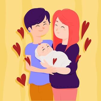 彼らの子供とフラットなデザインのレズビアンのカップル