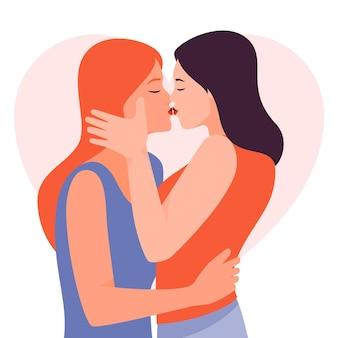 Flat design lesbian kiss illustrated