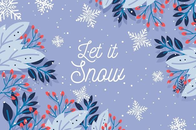 Flat design let it snow background