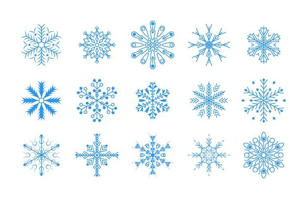 フラットなデザインライン雪片のクリスマスと新年の装飾要素セット。冬の青い雪の結晶の要素。
