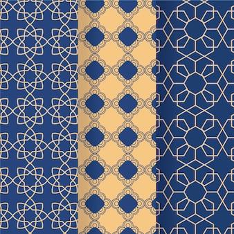 Плоский дизайн коллекции линейных арабских узоров