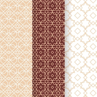 Flat design linear arabic pattern collection