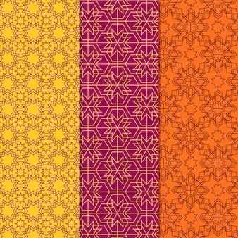 Collezione di modelli arabi lineari di design piatto