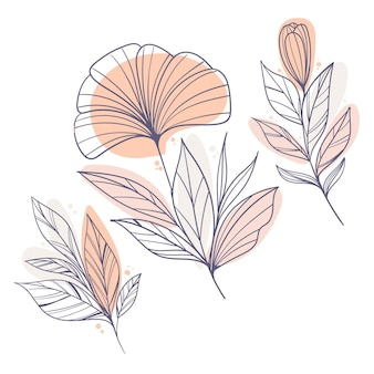 Flat design of linear leaves and flowers