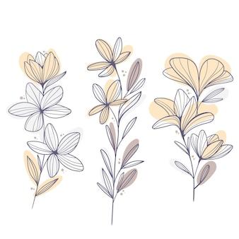 Design piatto di foglie e fiori lineari