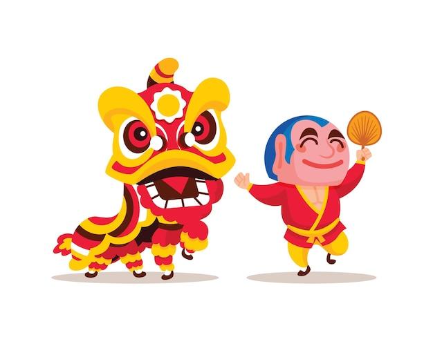 Flat design of lion dance with big head buddha