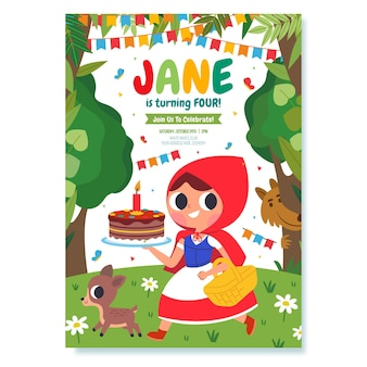 평면 디자인 작은 빨간 승마 후드 생일 초대장