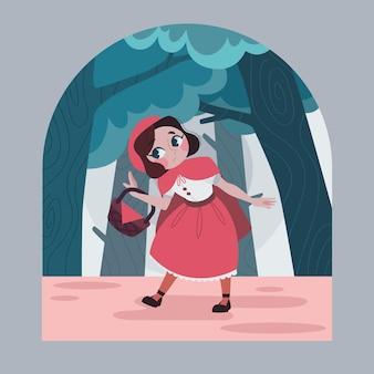 평면 디자인 작은 빨간 승마 후드 이야기 그림