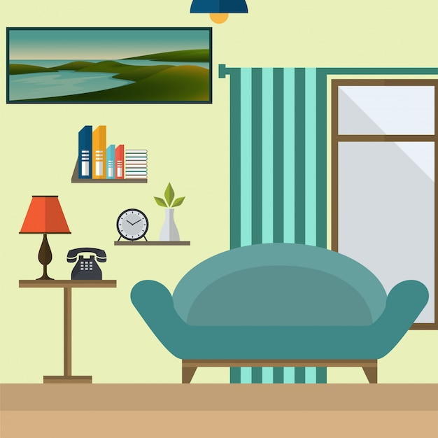 Flat design living room vector illustration