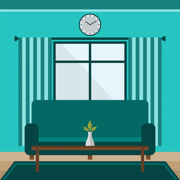 Flat design living room with long sofa vector illustration